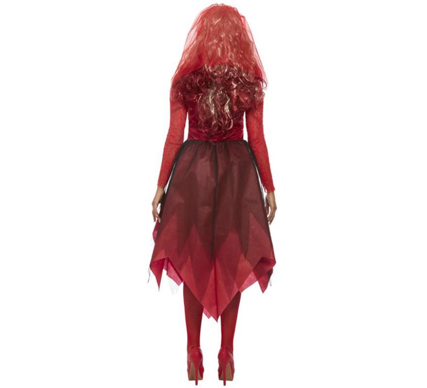 Disfraz de Novia Zombie Roja para mujer-B