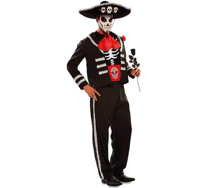 Disfraz de Novio del Día de los Muertos Negro para hombre-B
