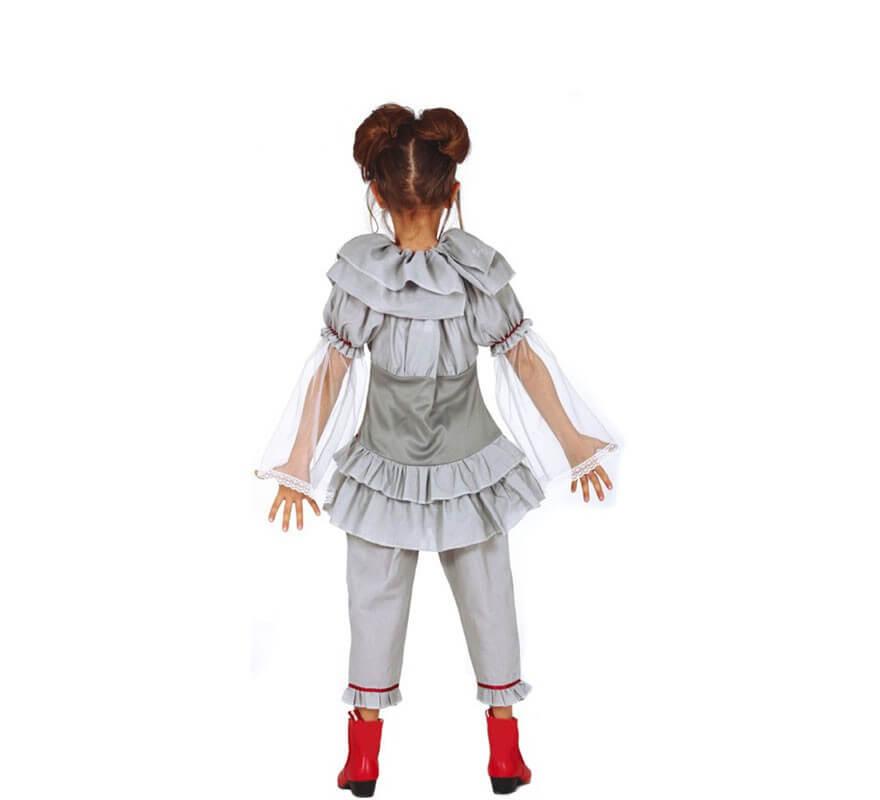 Disfraz de Payasa del Miedo Gris para niña-B