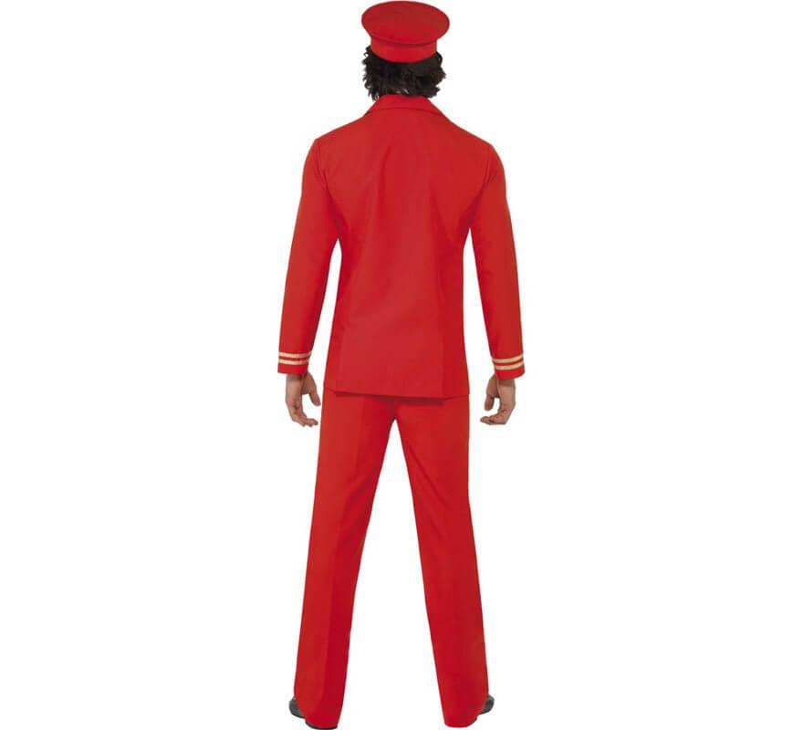 Disfraz de Piloto de Avión rojo para hombre-B
