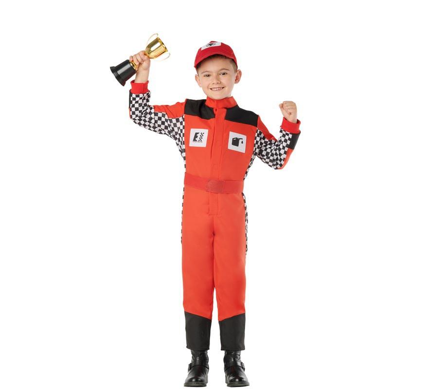 Disfraz de Piloto de Carreras Rojo para Niños-B