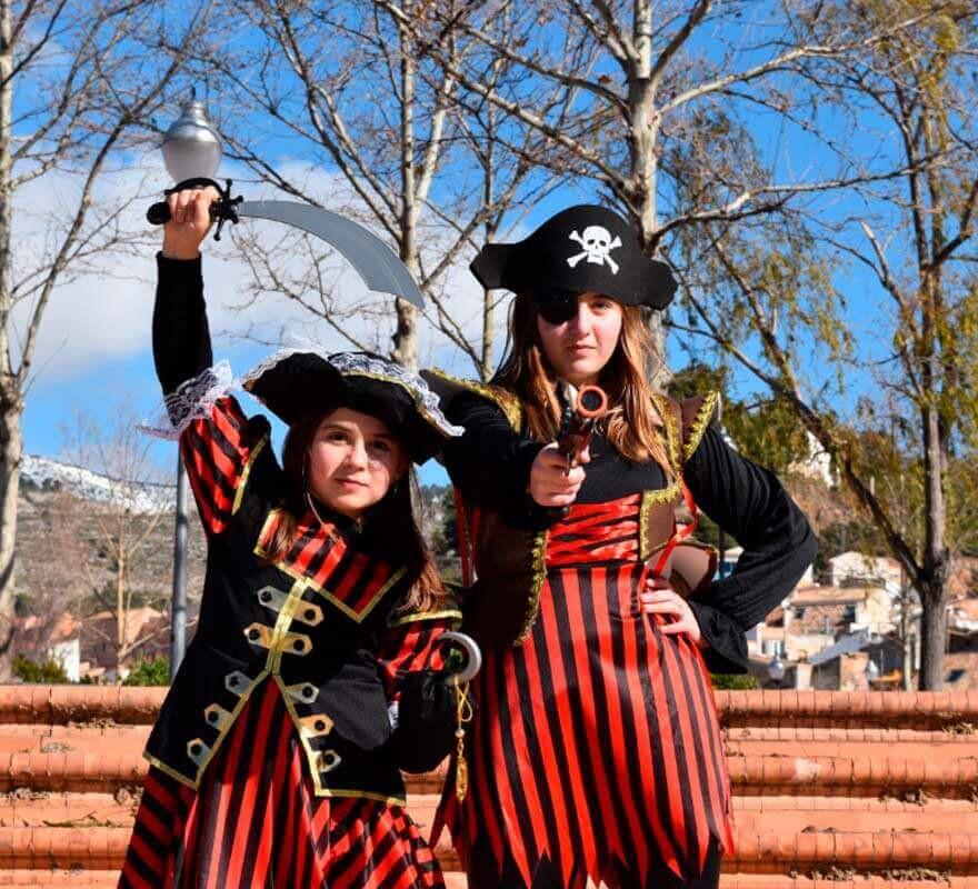 Disfraz de Pirata a rayas para niña-B