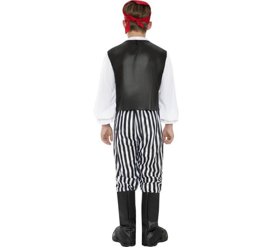 Disfraz de Pirata blanco y negro para Niño-B