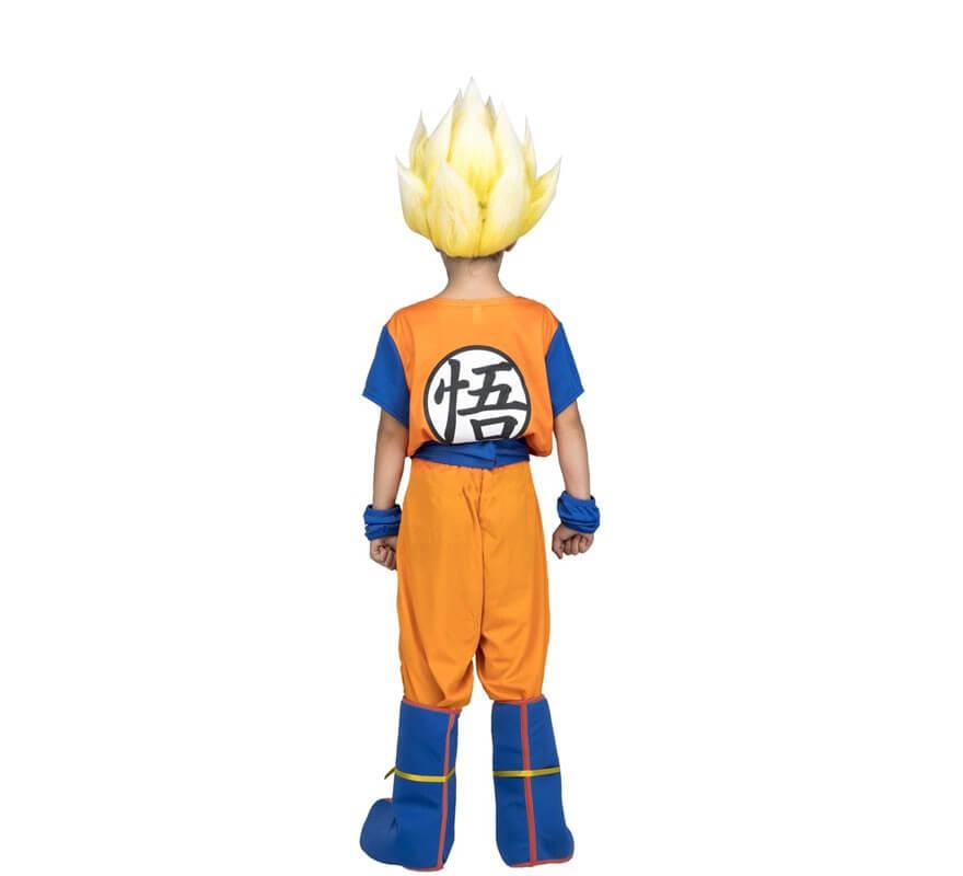 Disfraz de Saiyan Son Goku de Dragon Ball con peluca para niño-B