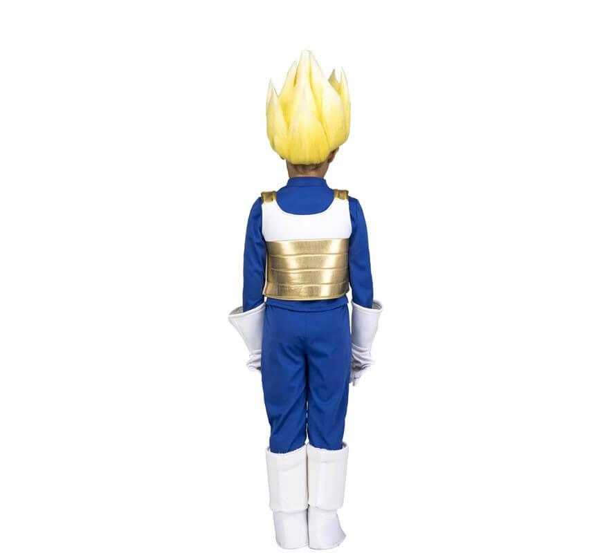 Disfraz de Saiyan Vegeta de Dragon Ball con peluca para niño-B