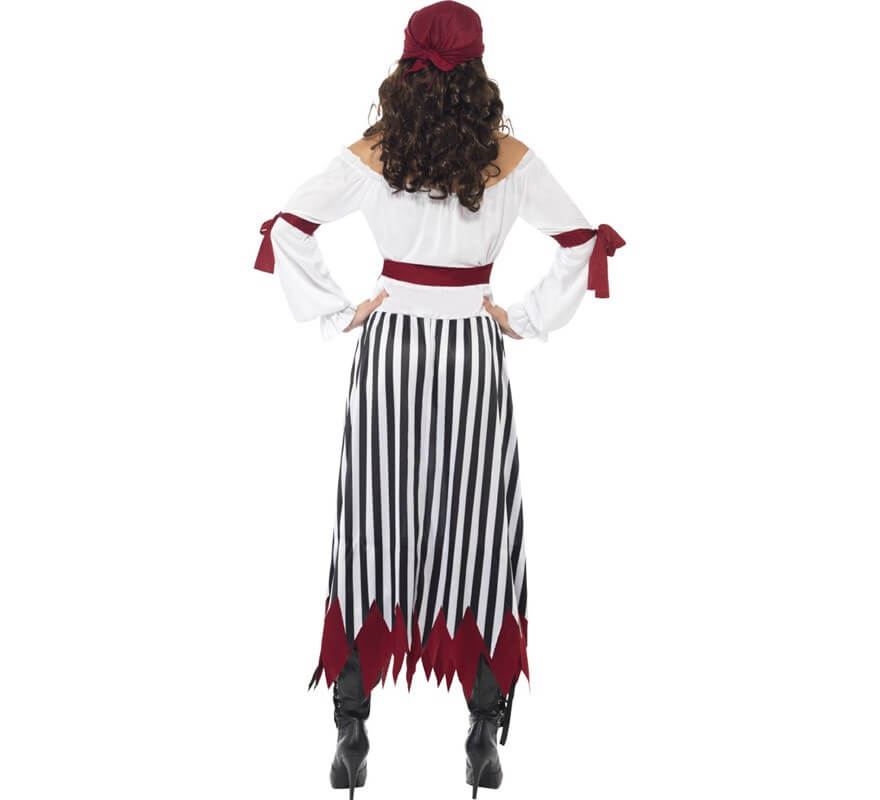Disfraz Mujer Pirata con falda a rayas-B