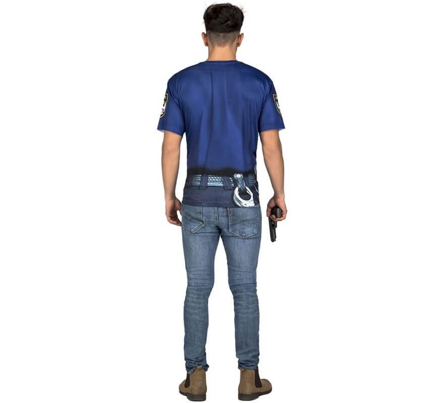Camiseta disfraz de Policía forzudo para hombre-B