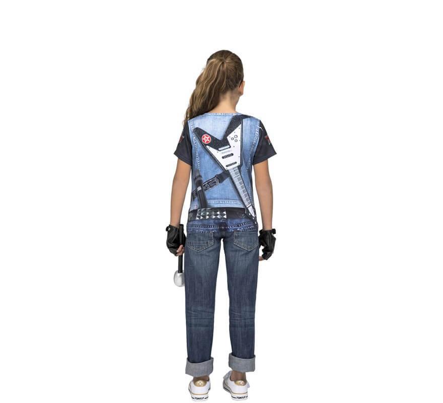 Camiseta disfraz de Rockera Esqueleto para niña-B