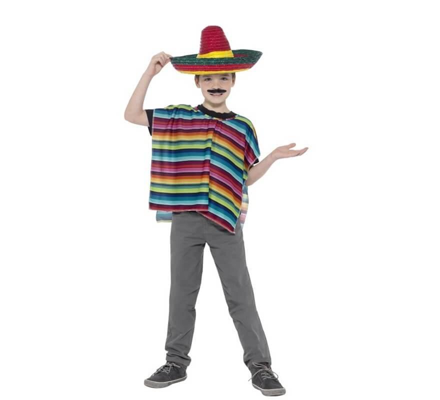 Disfraz o Kit Mexicano infantil: Poncho y Sombrero multicolor-B