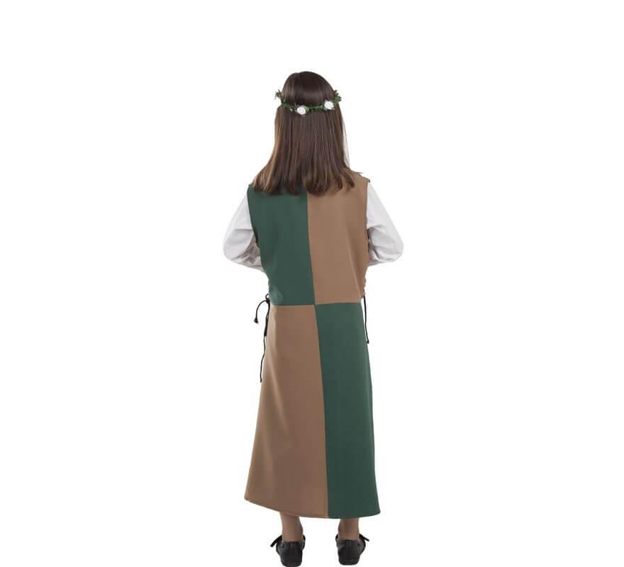 Disfraz o Túnica Marrón y Verde Medieval para niña-B