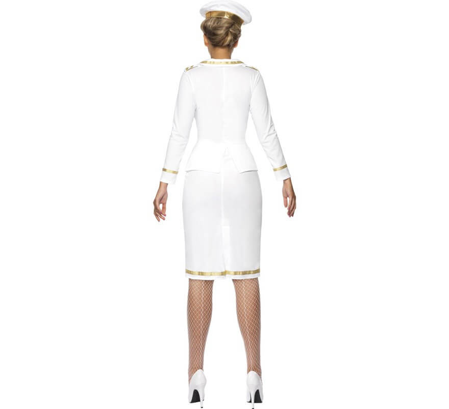 Disfraz Suboficial de Marina color Blanco para Mujer-B