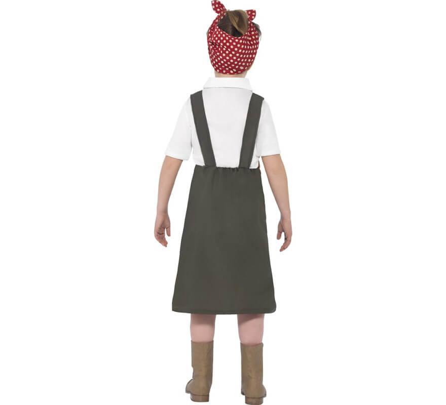 Disfraz Trabajadora de fábrica años 40 para niña-B