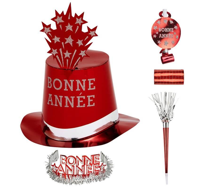 Kit Cotillón Bonne Année Rojo para 10 personas-B
