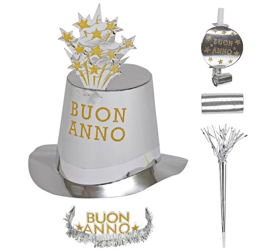 Kit Cotillón Buon Anno Plateado para 10 personas-B