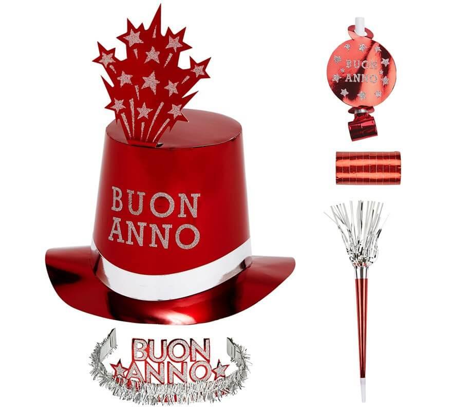 Kit Cotillón Buon Anno Rojo para 10 personas-B