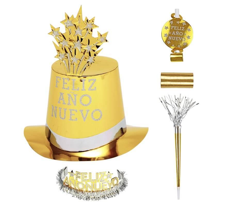 Kit Cotillón Feliz Año Nuevo Dorado para 10 personas-B