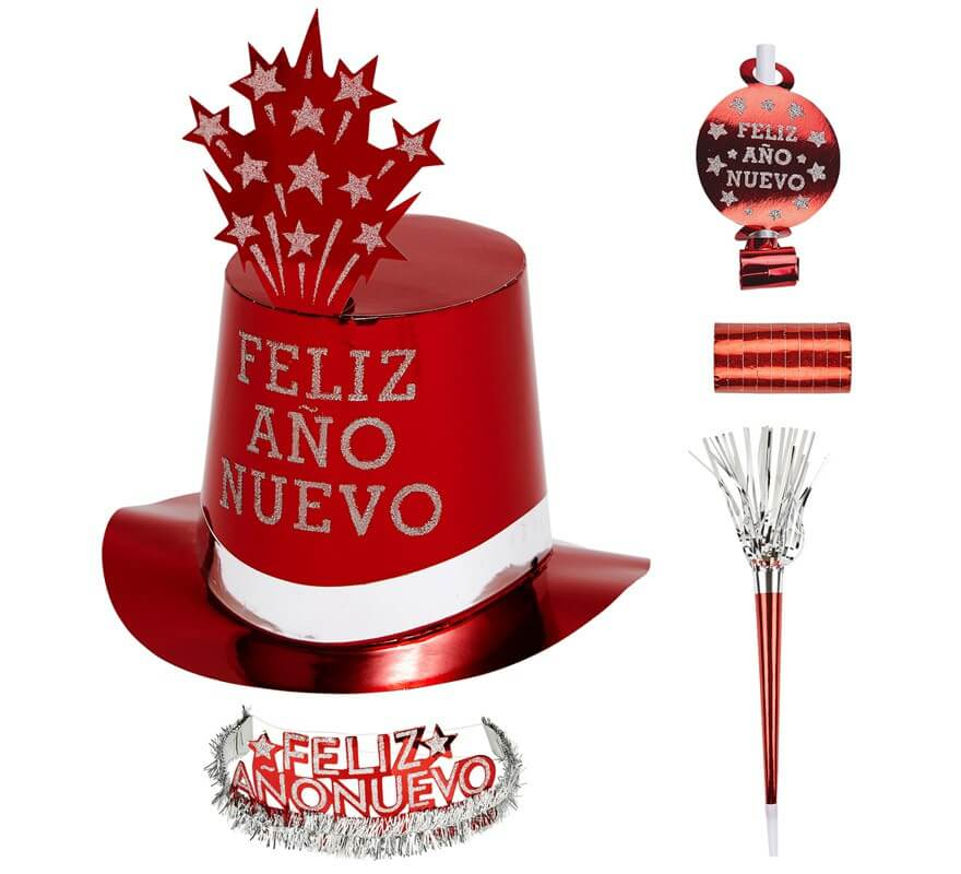 Kit Cotillón Feliz Año Nuevo Rojo para 10 personas-B