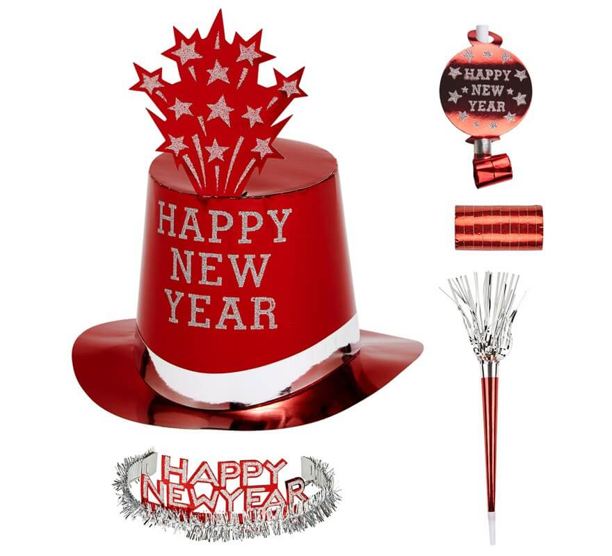 Kit Cotillón Happy New Year Red per 10 persone-B