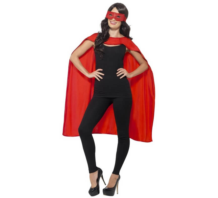 Kit de Superhéroe Rojo adulto: Capa y Antifaz-B