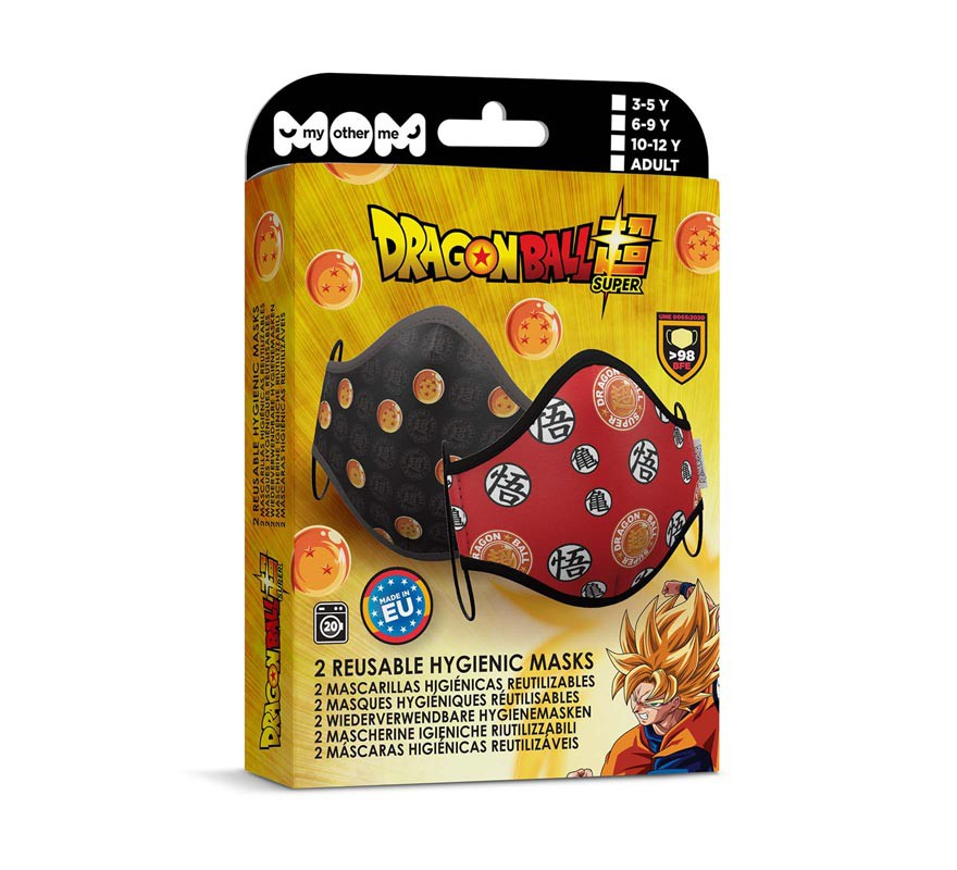 Mascarilla higiénica adultos Dragon Ball Pack de 2 (Roja y negra)-B