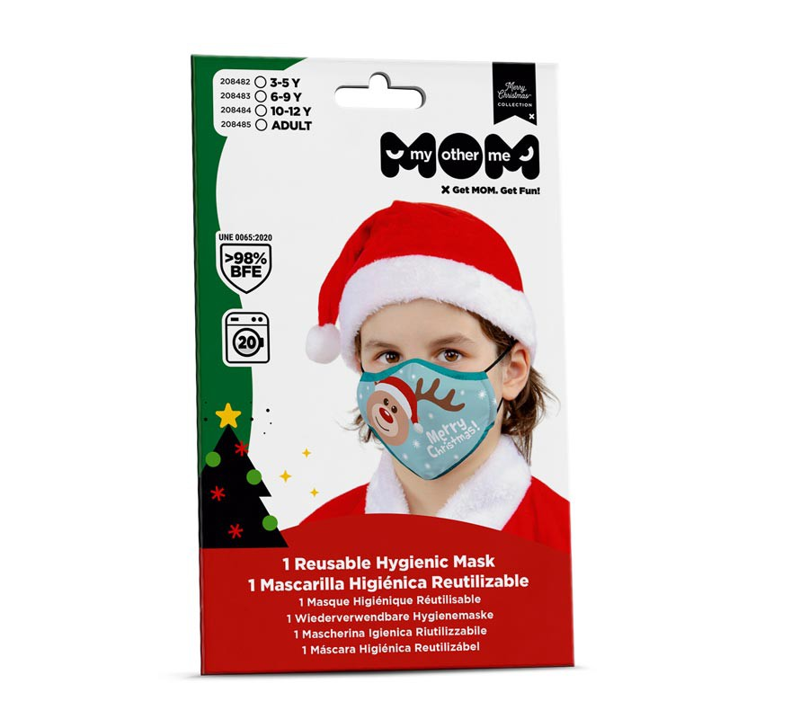 Mascarilla higiénica adultos Reno Navidad-B