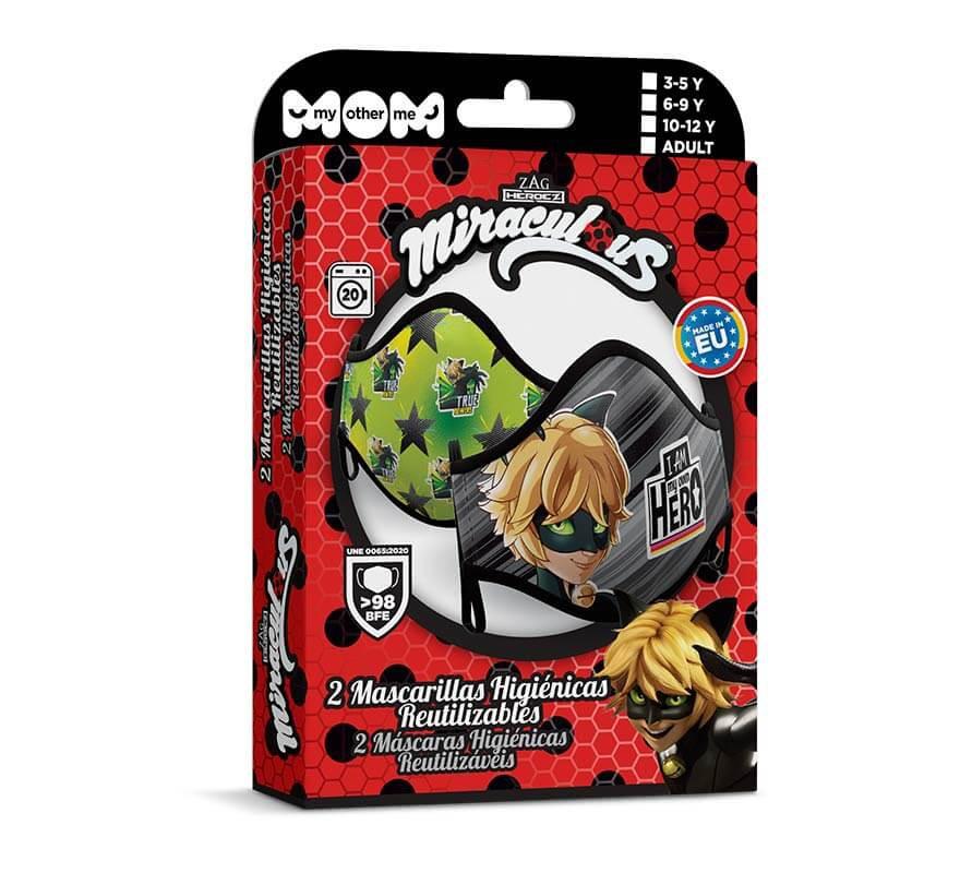 Mascarilla higiénica infantil Cat Noir Pack de 2-B