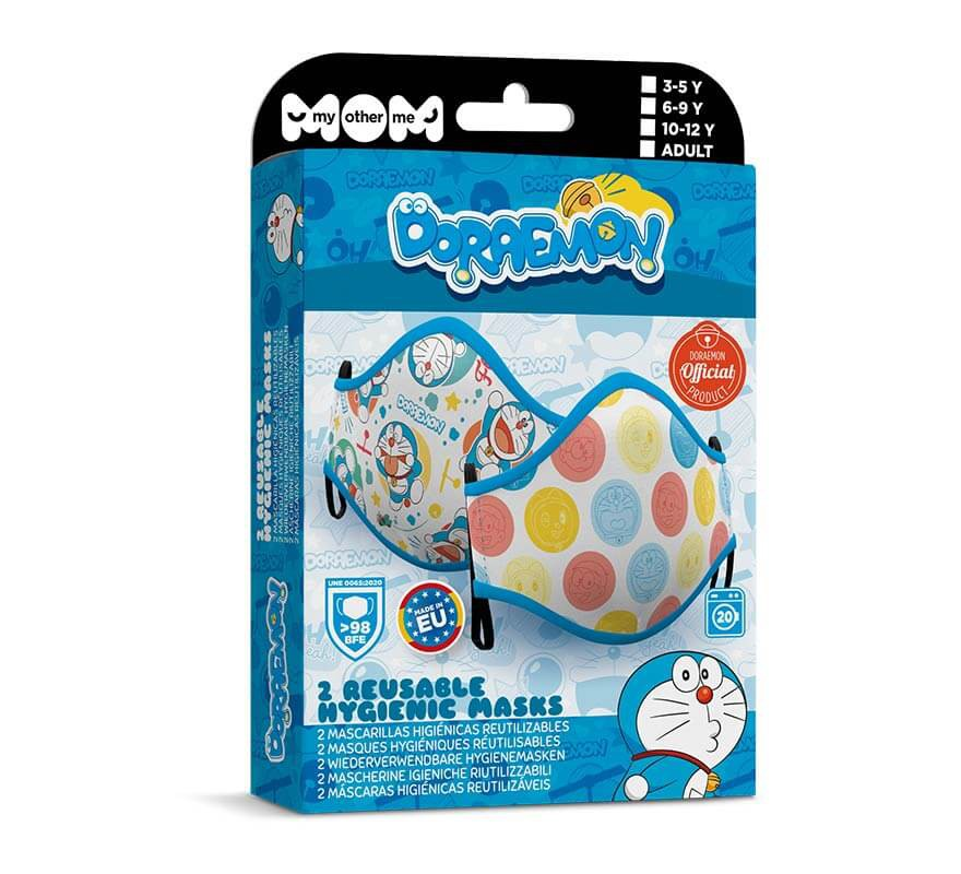 Mascarilla higiénica infantil Doraemon Pack de 2-B