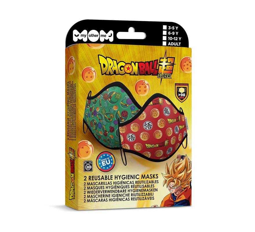 Mascarilla higiénica infantil Dragon Ball Pack de 2 (Roja y verde)-B