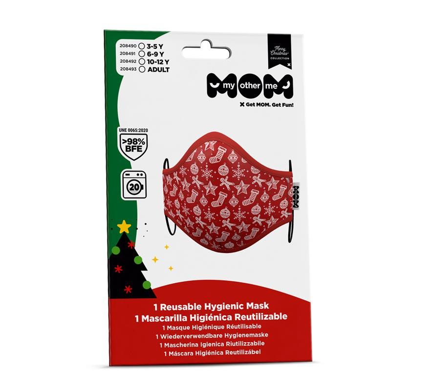Mascarilla higiénica infantil Roja Adornos Navidad-B