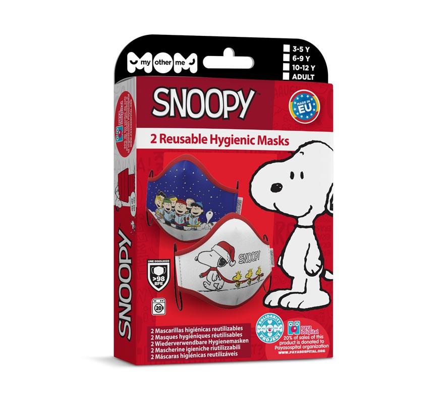 Mascarilla higiénica infantil Snoopy Navidad Pack de 2-B