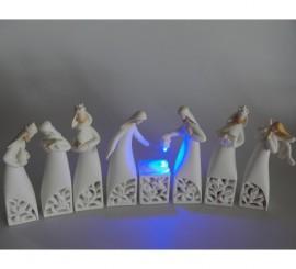 Belén Noche iluminada de 8 figuras con luz