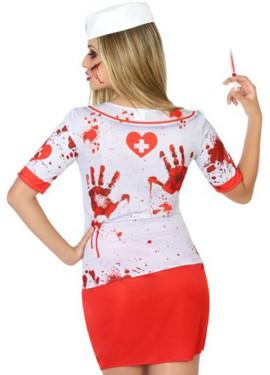 Camiseta Disfraz de Enfermera Zombie para mujer