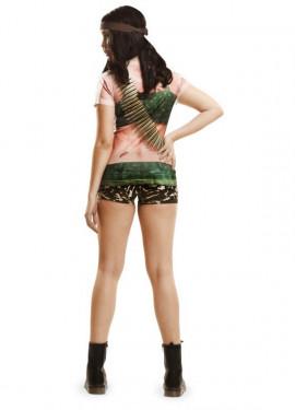 Camiseta disfraz soldado para mujer