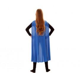 Capa Superhéroe Infantil Azul de 90 cm