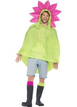Chubasquero Party Poncho Flor para adulto
