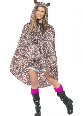 Chubasquero Party Poncho Leopardo para adulto
