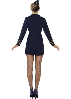 Disfraz Auxiliar de Vuelo Azul Marino para Mujer
