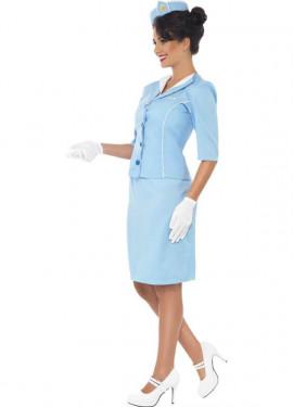Disfraz Azafata de Vuelo Comercial Azul para Mujer