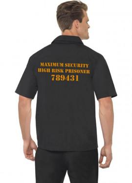 Déguisement Prisonnier chemise noire pour hommes plusieurs tailles