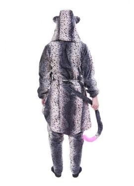 Disfraz Conjunto Leopardo Gris Capucha Flúor Fucsia para adultos