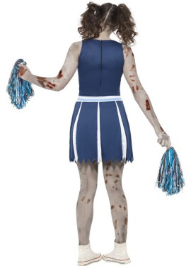 Disfraz de Animadora Zombie Azul para mujer