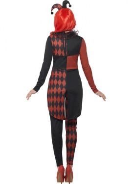 Disfraz de Arlequín Negro y Rojo para mujer
