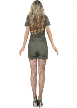 Disfraz de Aviadora de Top Gun Verde para mujer