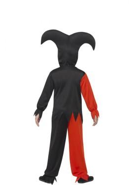 Disfraz de Bufón Rojo y Negro  para niño