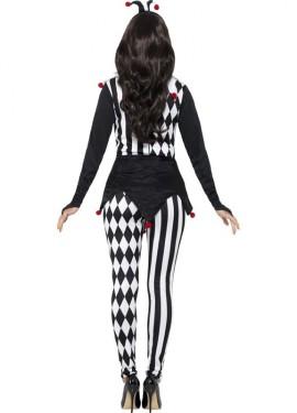 Disfraz de Bufona Negro y Blanco para mujer