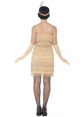 Disfraz de Cabaretera Dorado Corto de los años 20 para mujer