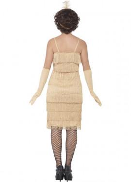 Disfraz de Cabaretera Dorado Largo de los años 20 para mujer