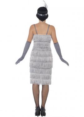 Disfraz de Cabaretera Plateado Largo de los años 20 para mujer