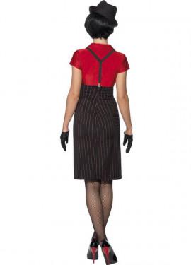 Déguisement de Femme Ganster Rouge et noir pour Femme plusieurs tailles