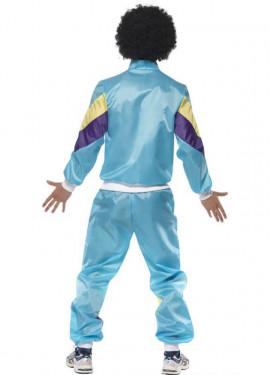 Disfraz de Chico Chandal Azul de los 80 para Hombre